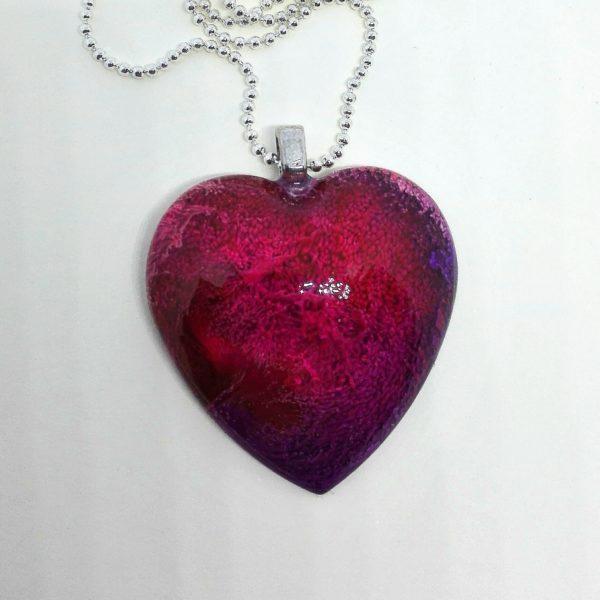 Ciondolo cuore bordeaux/viola